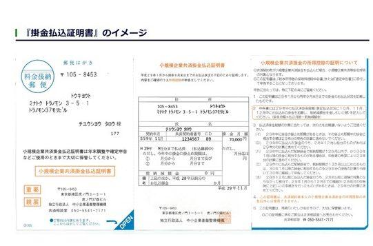掛金払込証明書のイメージ