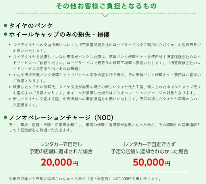 トヨタレンタカー レンタカー料金に含まれる保険・補償2