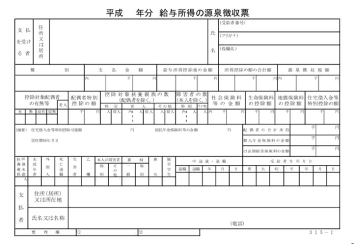 源泉徴収票の記載内容