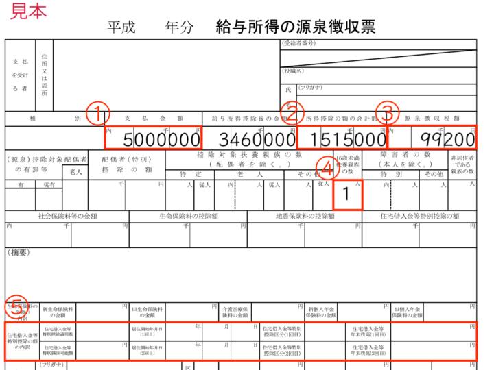 源泉徴収票の入力(給与所得の入力)