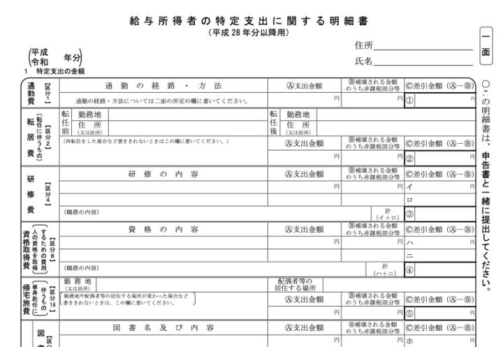 給与所得者の特定支出に関する明細書