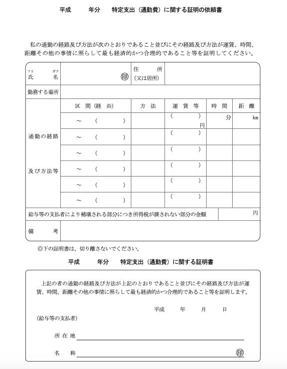 特定支出(通勤費)に関する証明の依頼書