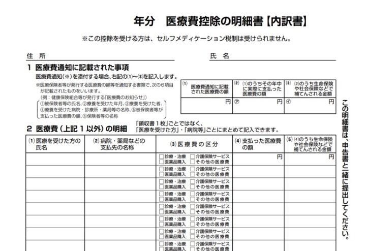 医療費控除の明細書の記入方法